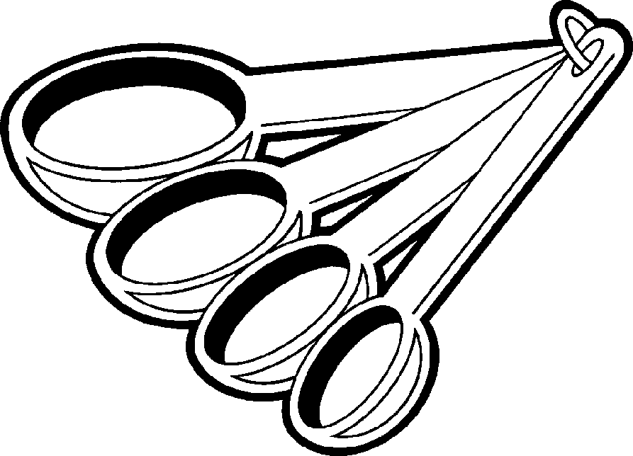 black and white measuring spoons clipart.