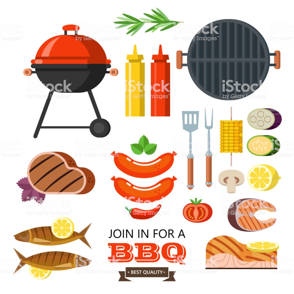 Barbecue Set Colorful Clipart Meat Fish Vegetables Grill Isolated On.