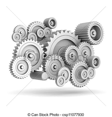 Clipart of mechanical gears isolated on white background.