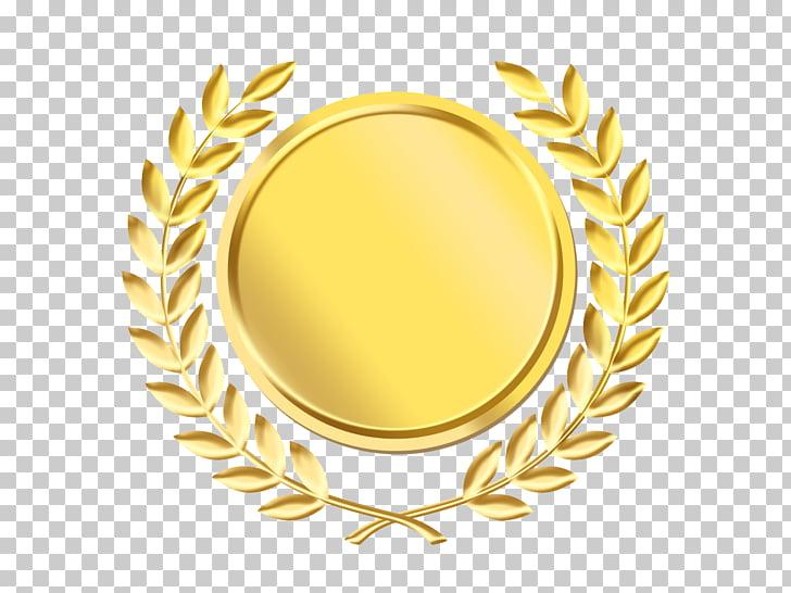 Laurel wreath Gold medal , gold background, round gold PNG.