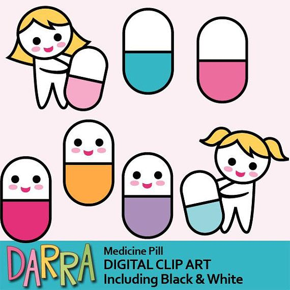 Cute pill clipart / medicine pill clip art commercial use.