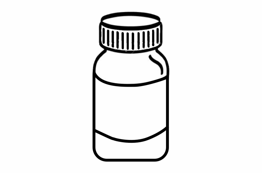Pencil And In Color Pills Medicine Bottle Png.