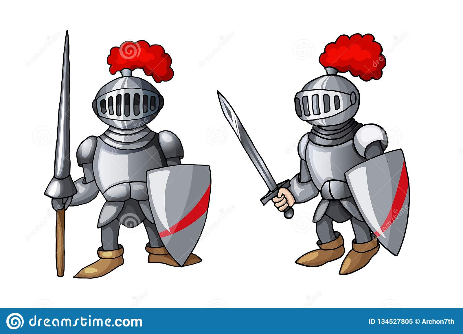 Cartoon Medieval Knight With Shield And Sword, Isolated On White.