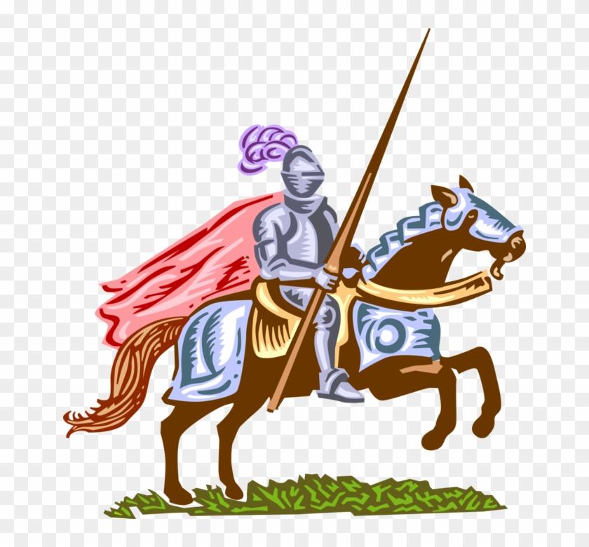 Vector Illustration Of Medieval Knight In Armor On.
