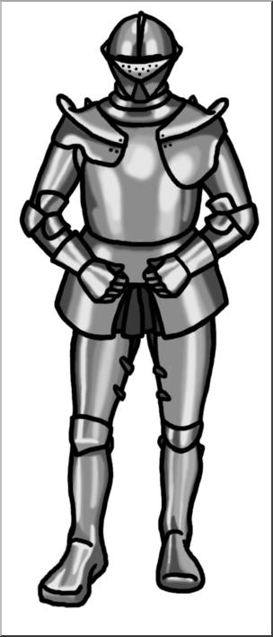 Clip Art: Medieval History: Knight Grayscale I abcteach.com.