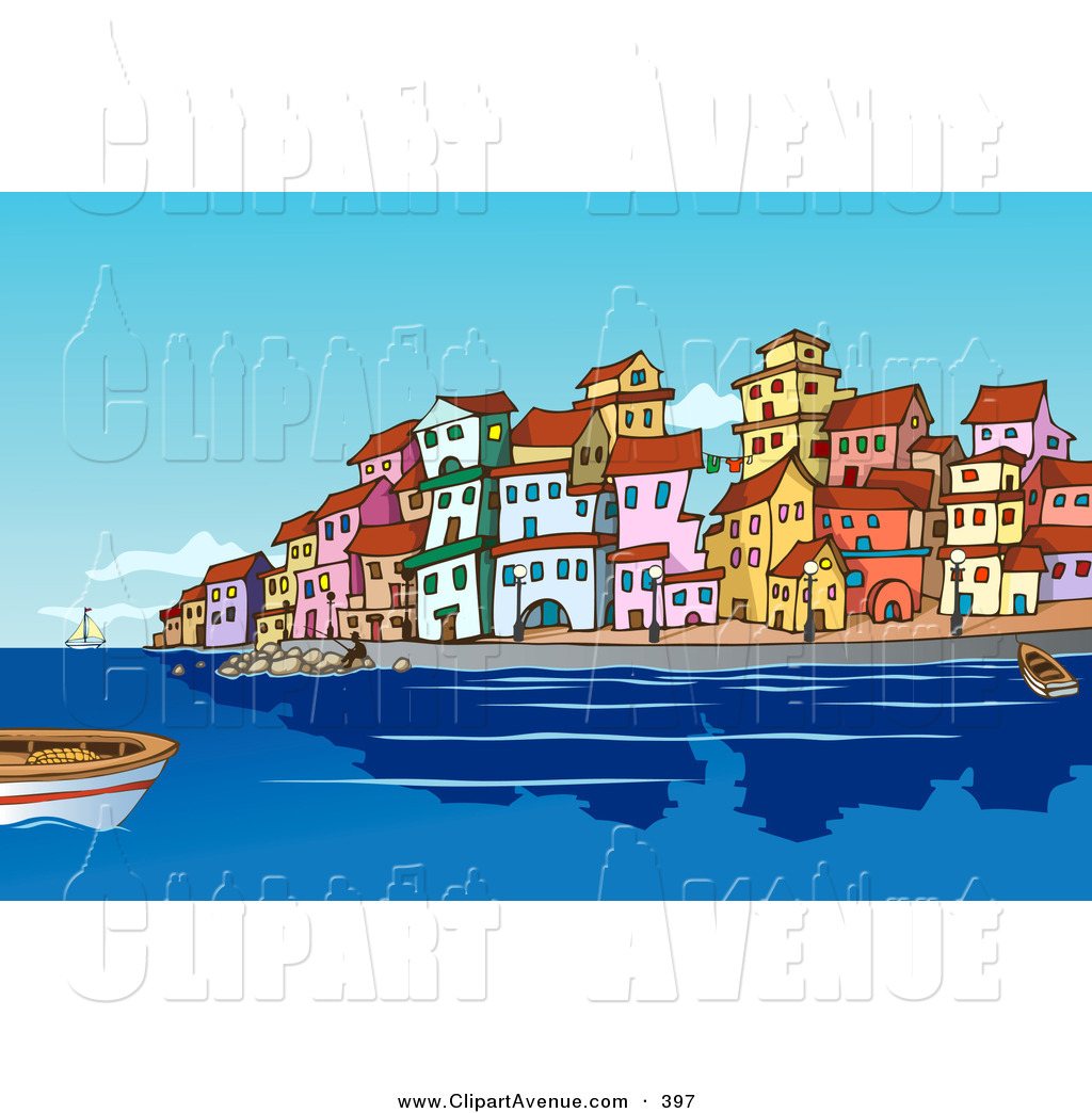 Avenue Clipart of Boats and People in the Harbor near a.