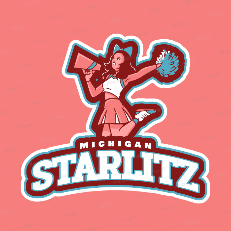 Cheerleader Logo Generator with a Cheerleading Megaphone Clipart 1595a.