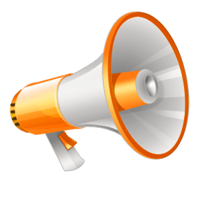 Yellow and White Megaphone Clipart transparent PNG.