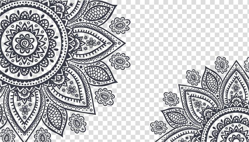Black floral , Ornament Mehndi , Black flower frame.