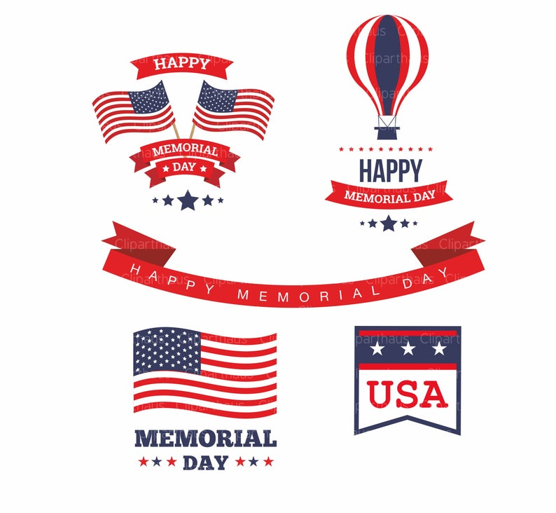 Memorial Day Clipart, Memorial Day Clip art, Clip art memorial day,  Memorial Day vector, Patriot, USA, Instant Download, Commercial use,.