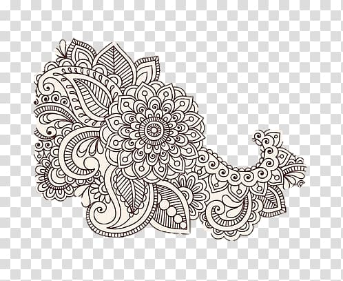 Paisley Mehndi, design transparent background PNG clipart.