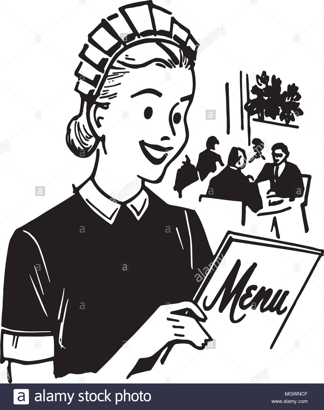 Waitress With Menu.