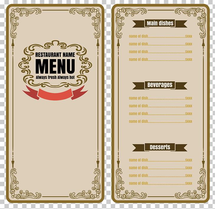 Cafe Menu Restaurant, nostalgic menu, restaurant menu.