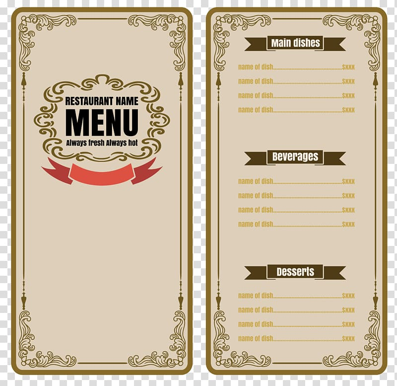 Restaurant menu illustration, Cafe Menu Restaurant.