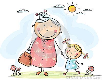 Happy Little Girl Her Grandmother Stock Illustrations, Vectors.