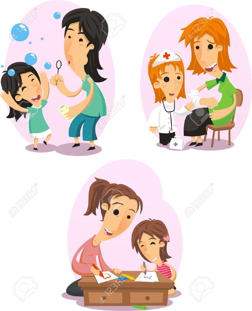 Mère Et Jeux De Fille, Médecin, Faire Des Bulles, Et Rapprochant.