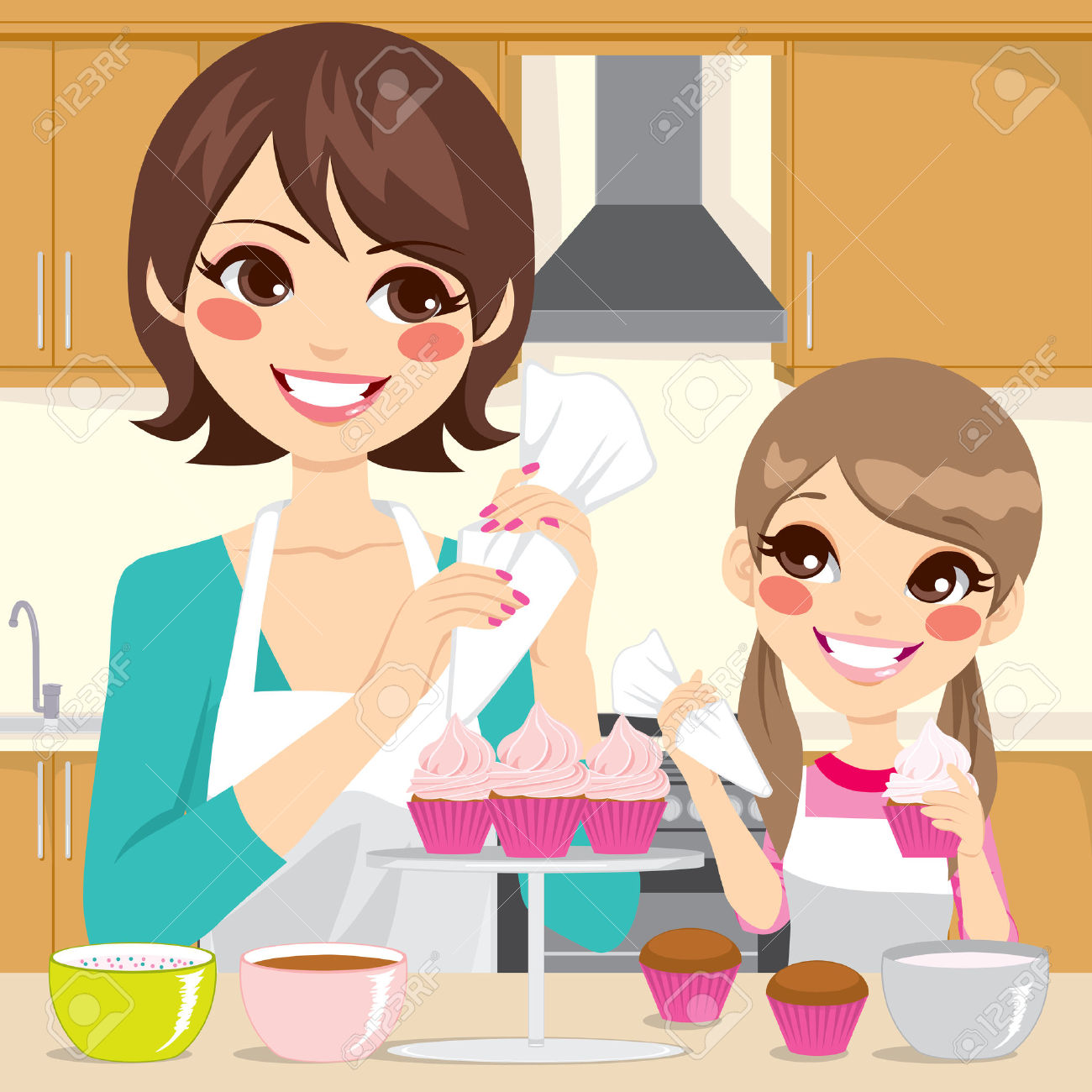 Mère Et Fille De Décoration De Petits Gâteaux Sucrés Avec De La.