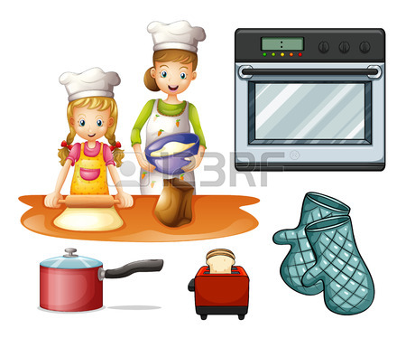 Mère Et Fille Cuisine Et De Pâtisserie Clip Art Libres De Droits.