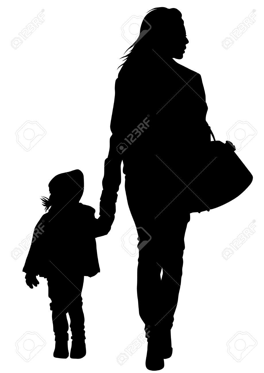 Silhouette D'une Mère Et Sa Fille Sur La Promenade Clip Art Libres.