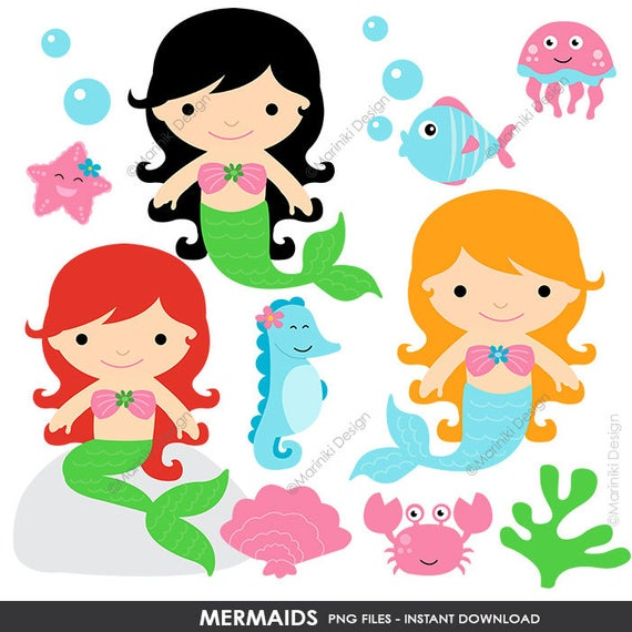 Mermaid Clipart, Fairytale Clip Art, Cute Princess Mermaids, Girls Graphics  for Party Invitations Scrapbook INSTANT DOWNLOAD CLIPARTS C84.