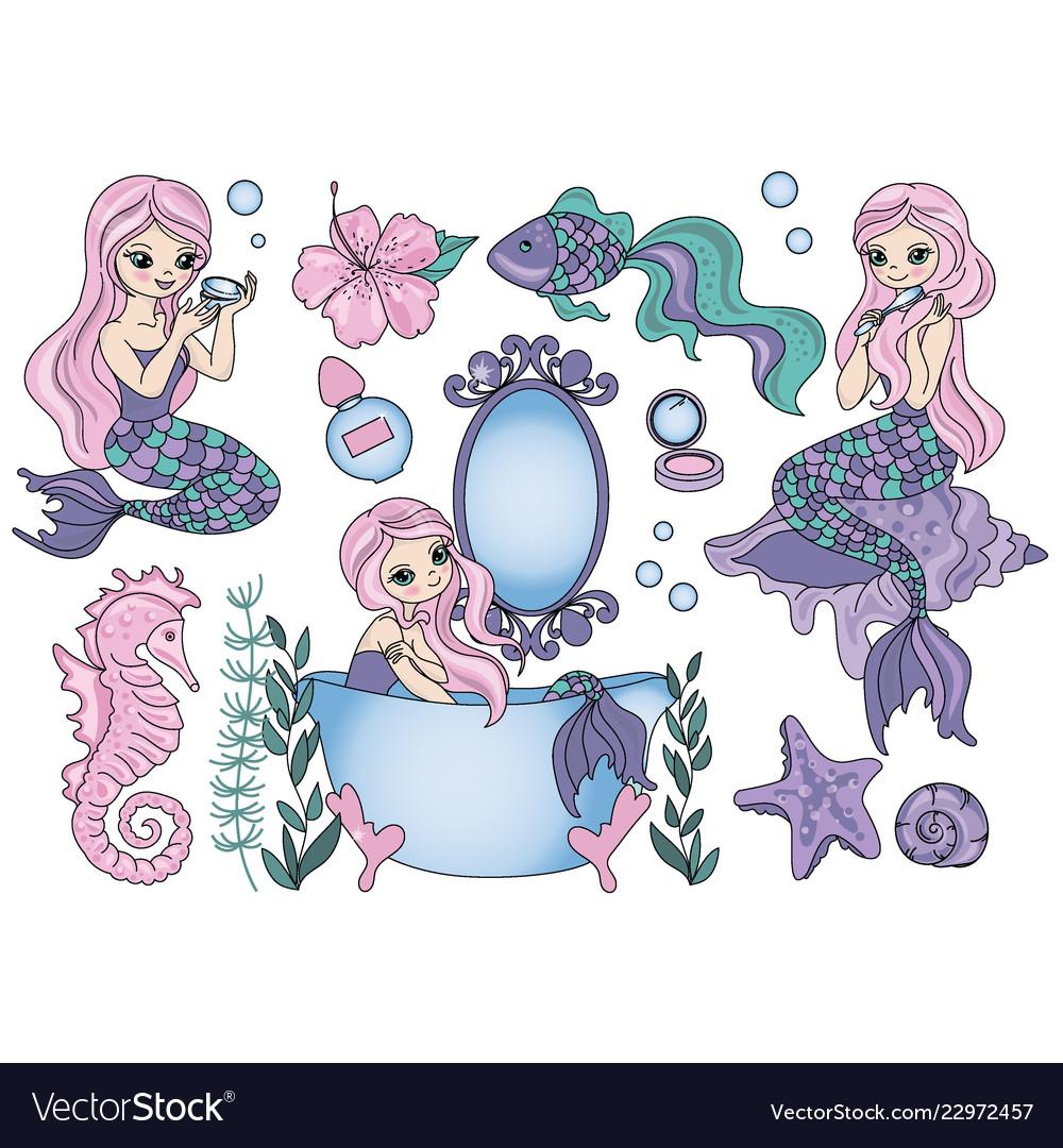 Purple mermaid sea travel clipart color.
