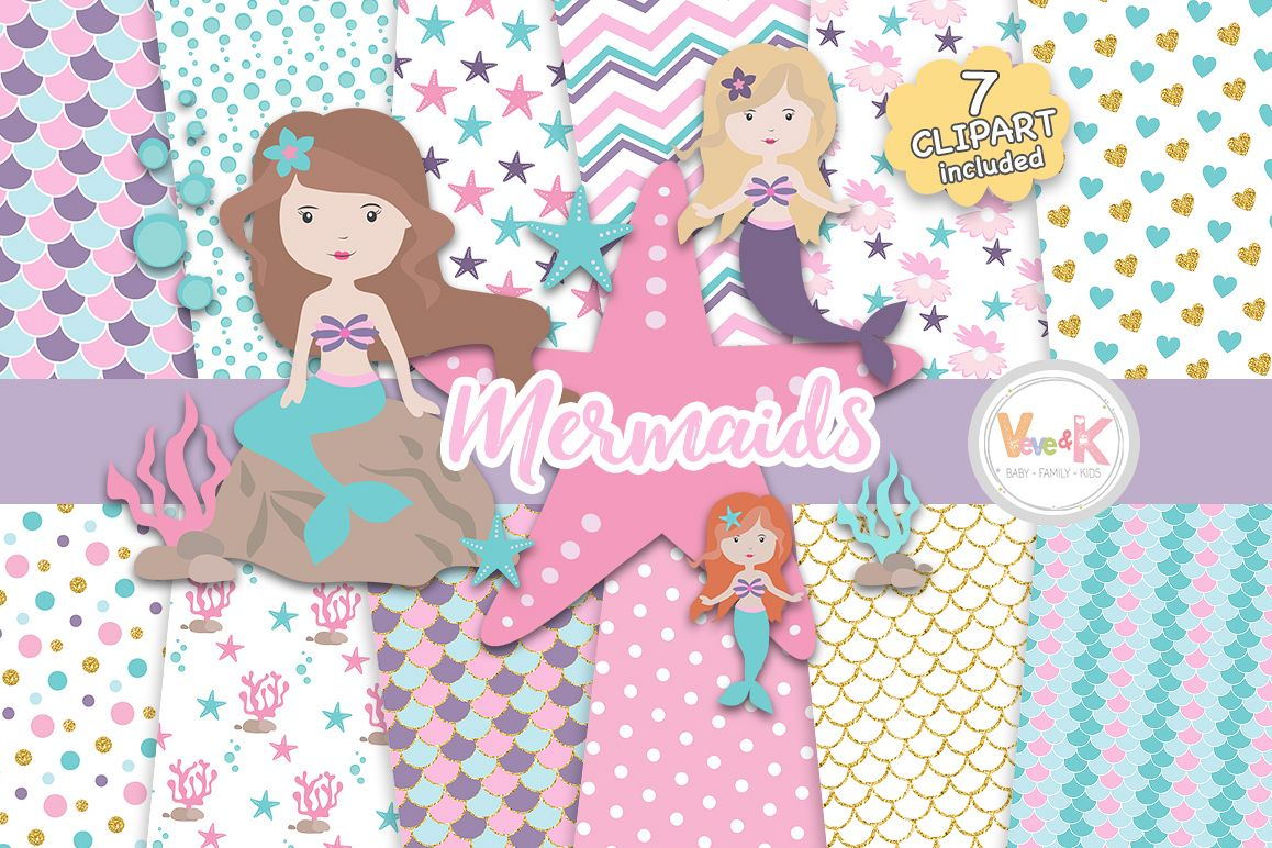 Mermaids Clipart and Papers Pack, Mermaids Clipart, Under the Sea Graphics,  Ocean Graphics, Mermaid Baby Shower, Mermaid Background Papers.