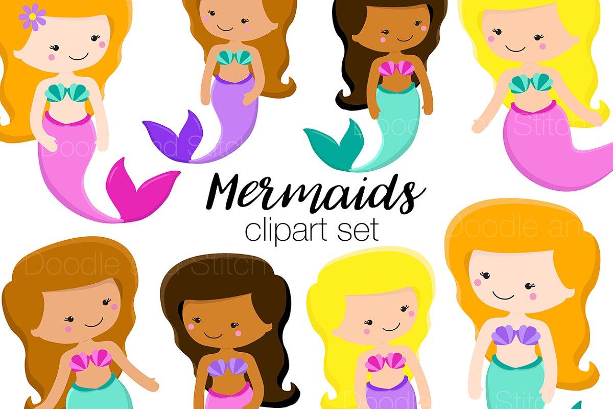 Cute Mermaids Clipart Illustrations.