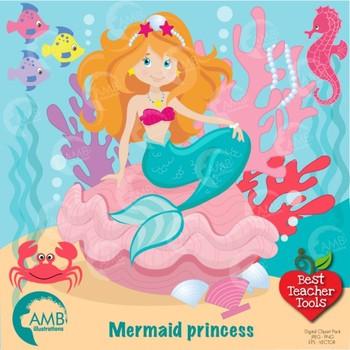 Mermaid Clipart, Pretty Mermaids Digital Download, Clipart AMB.