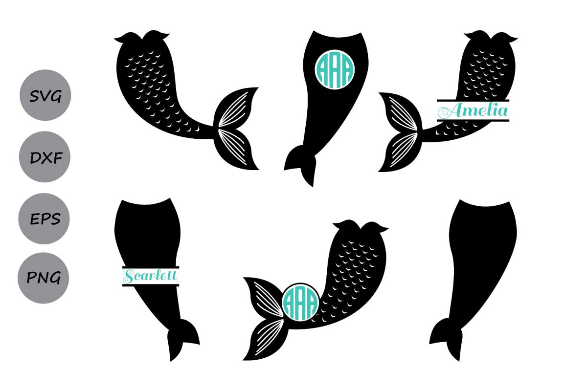 Mermaid Tail SVG, Mermaid Monogram SVG, Mermaid Svg, Mermaid Tail Clipart,  Fish Svg, Mermaid Silhouette, Cricut Files, svg, dxf, eps, png..