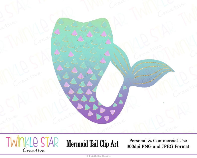 INSTANT DOWNLOAD, Mermaid Tail Clipart, Mermaid Digital Clip Art, Graphics,  Turquoise, Purple, Digital Images, PNG,Personal & Commercial Use.