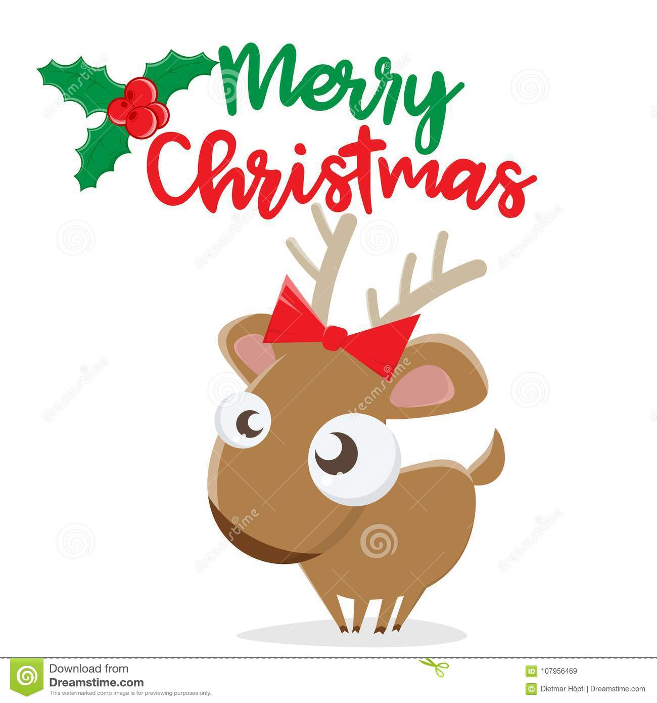 Merry Christmas Reindeer Clipart Stock Vector.