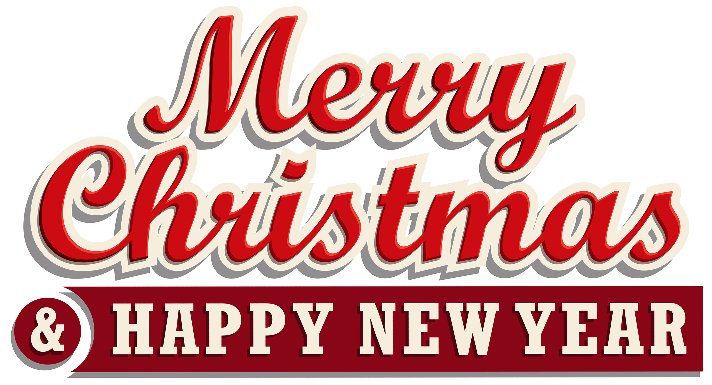 Merry Christmas and Happy New Year PNG Clipart.