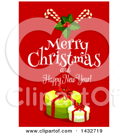 Clipart of a Merry Christmas and Happy New Year Greeting with.