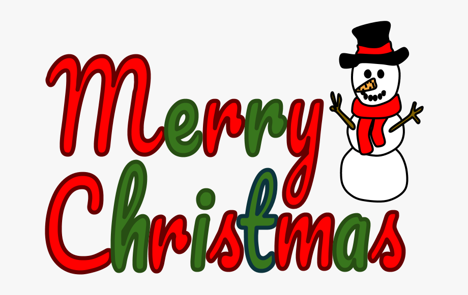 Merry Christmas Banner, Red And Green Lettering, Snowman.