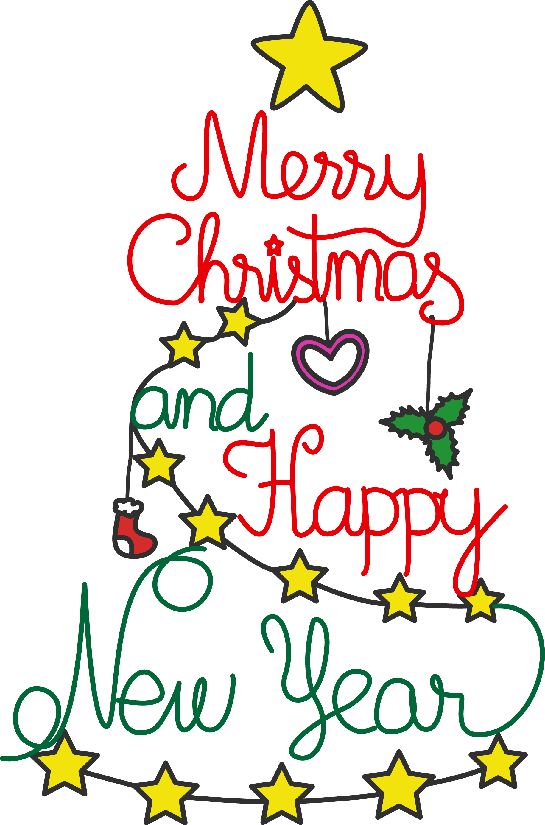 Merry Christmas And Happy New Year Clipart Free.
