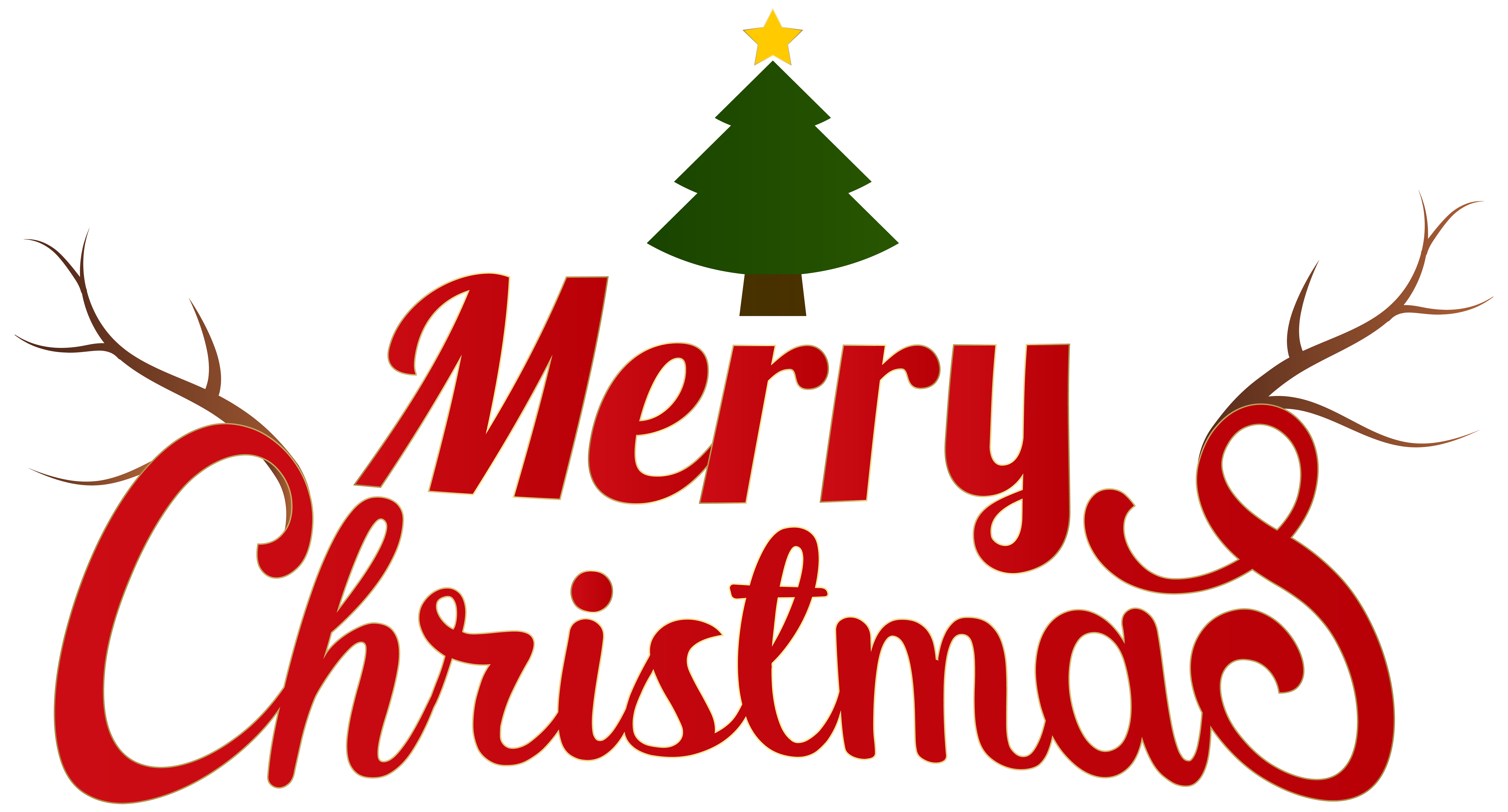 Transparent Background Merry Christmas Clipart.