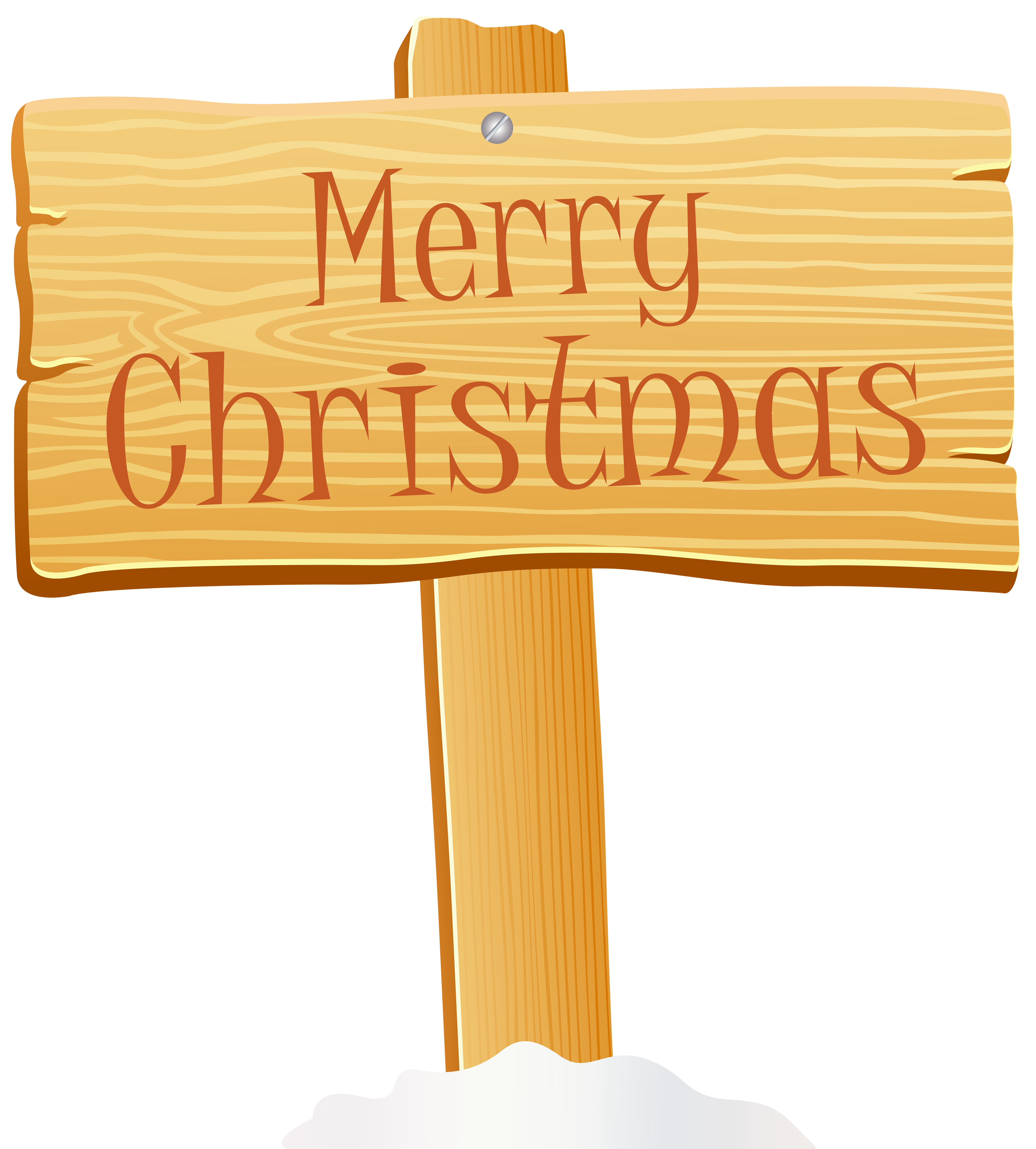 Merry Christmas Wooden Sign PNG Clip Art Image.