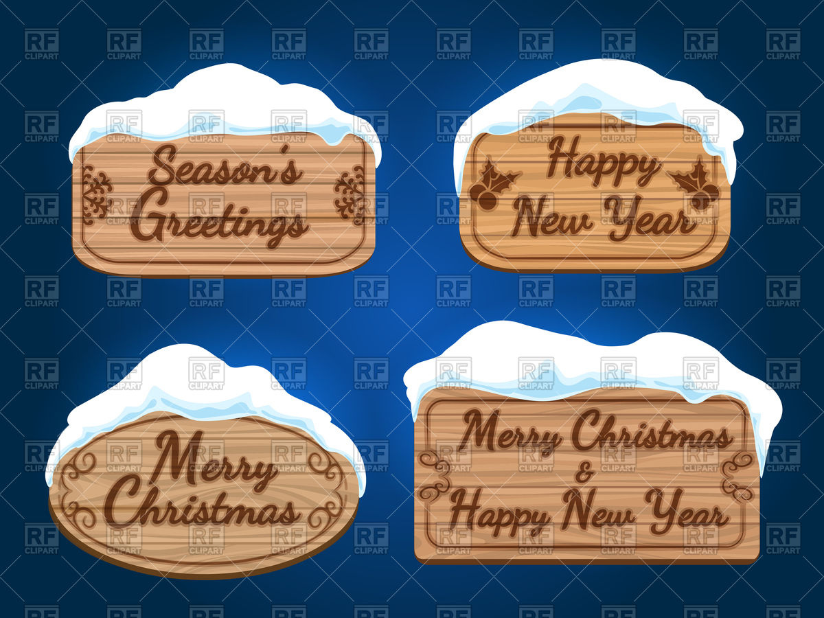 Wooden board signs with snow and Merry Christmas Stock Vector Image.