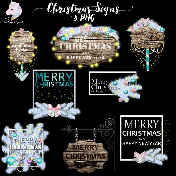 Christmas decor, wooden signs, christmas clipart, xmas clip art.