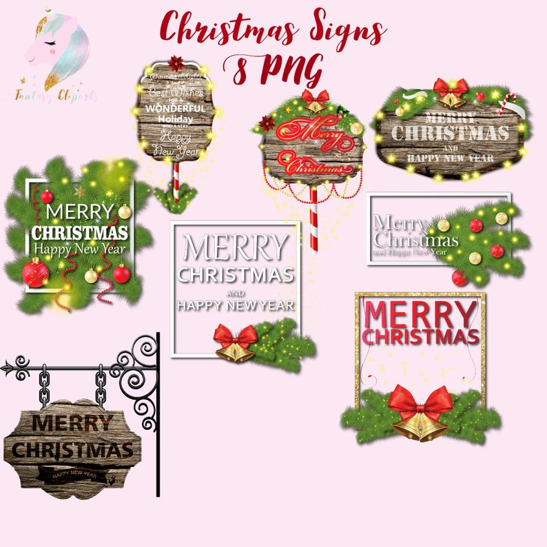 Christmas wood signs, wooden signs, christmas clipart, christmas banners,  holiday decoration, xmas decor, christmas tree fir, candy cane, j.