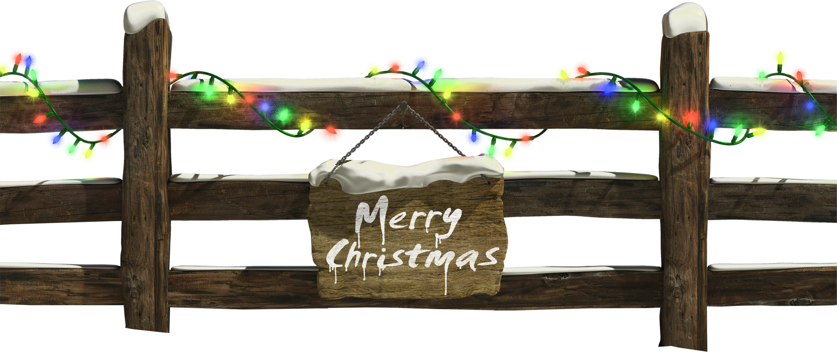 Christmas Fence with Lights Clipart.