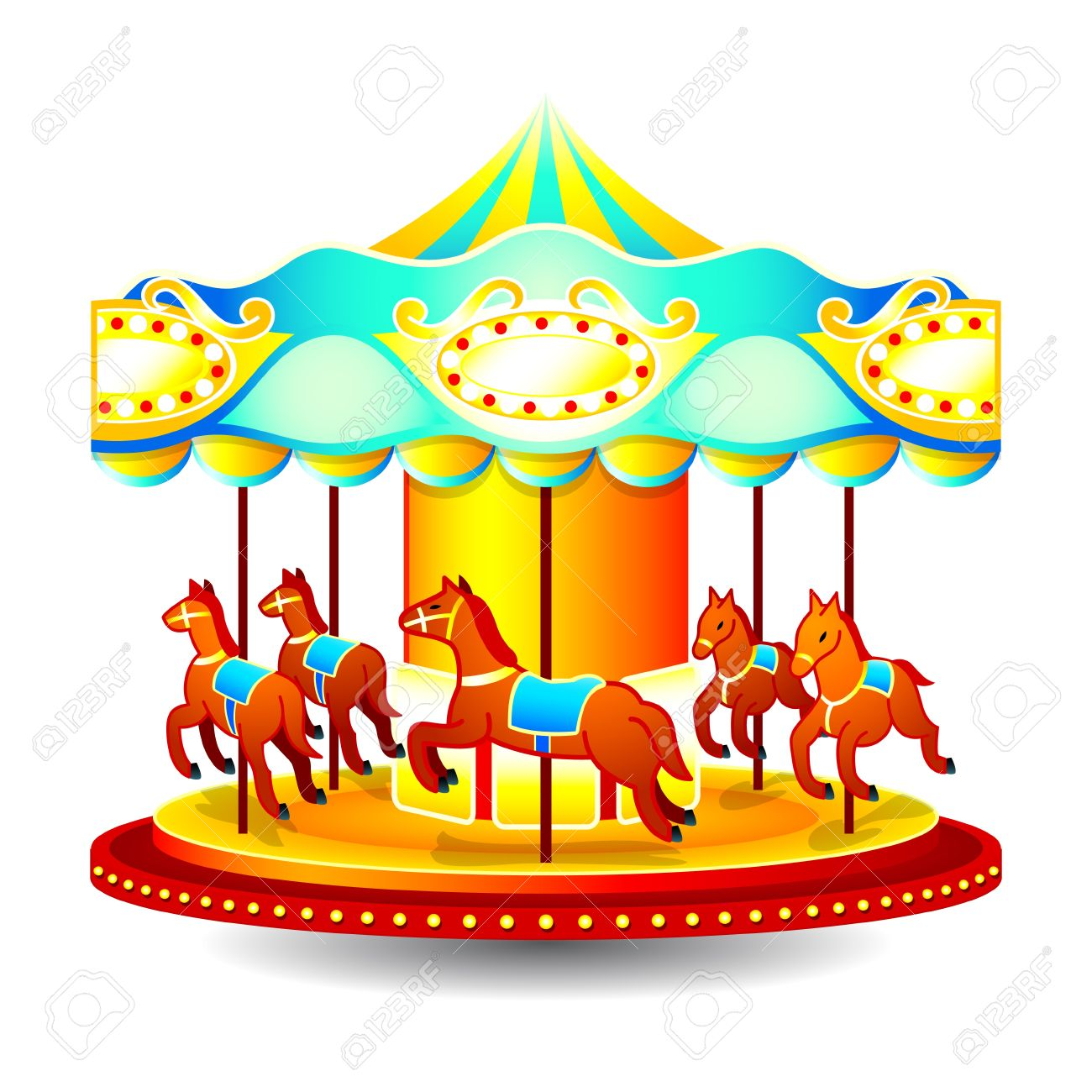Clipart Merry Go Round Horse To Color