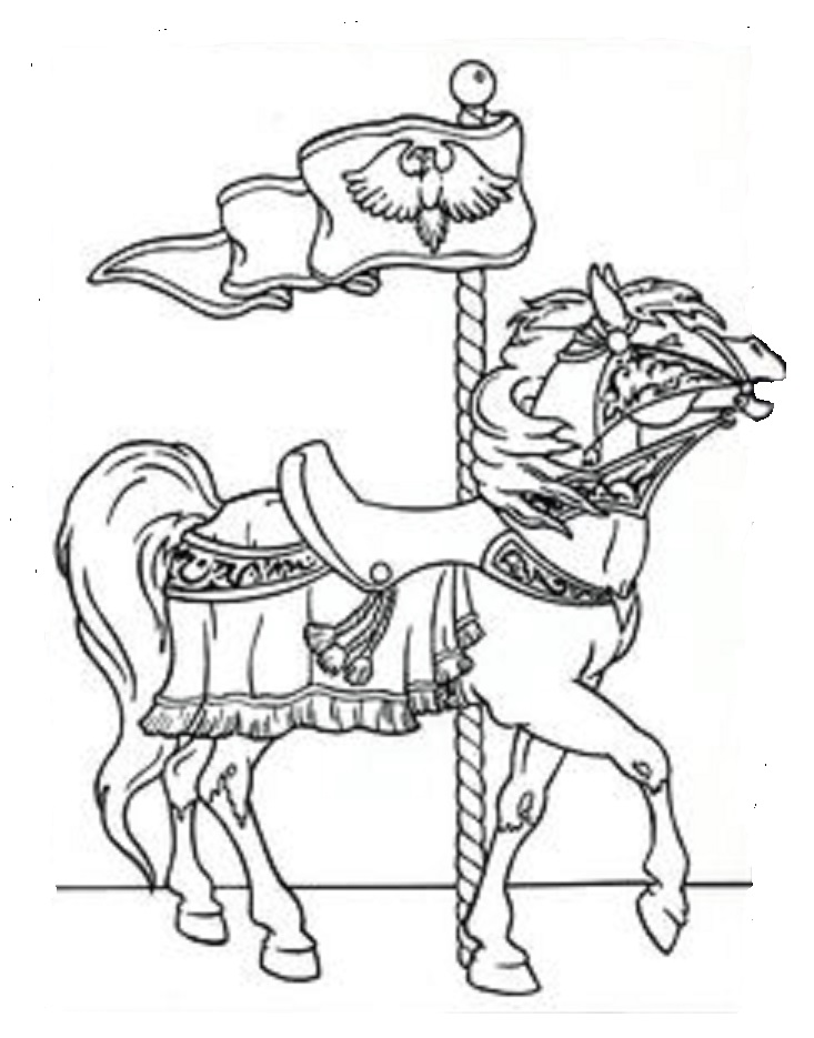 Merry go round horses coloring pages coloring pages for Merry go round horse template