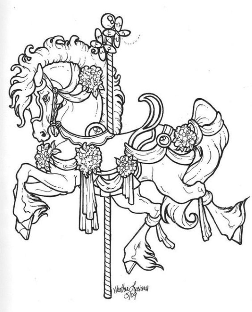 Carousel Horse Head Drawing Car Pictures.