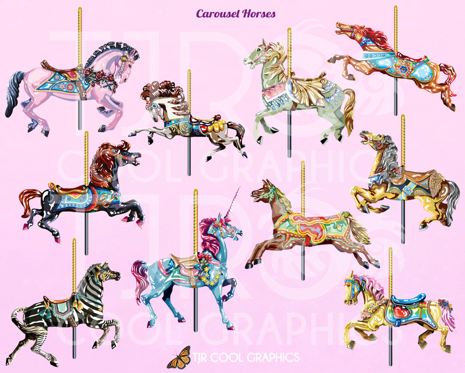 clipart merry go round horse to