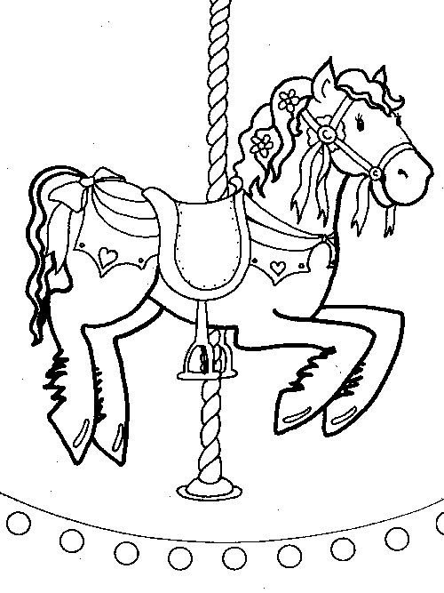 clipart merry go round horse to color clipground