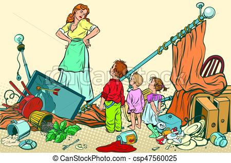 Terrible mother and the kids made a mess at home.