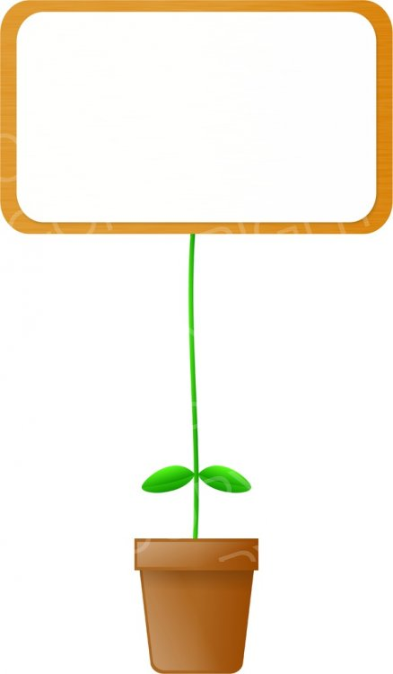 Blank Message Board Plant Pot Clipart.