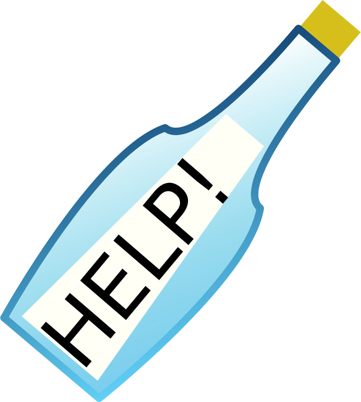Free Clipart: Message in a bottle.