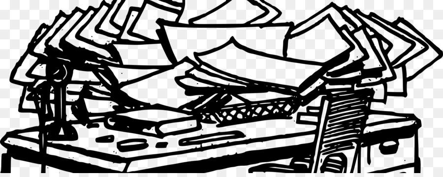 Messy Desk Clipart Black And White.